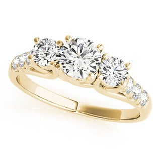 14k Yellow Gold 1/2ct TDW White Diamond Three-Stone Engagement Ring (I-J, I2-I3)