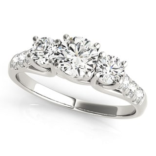 JewelMore 14k White Gold 1/2ct TDW White Diamond Three-Stone Engagement Ring (I-J, I2-I3)