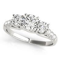 JewelMore 14k White Gold 1/2ct TDW White Diamond Three-Stone Engagement Ring (I-J, I2-I3)