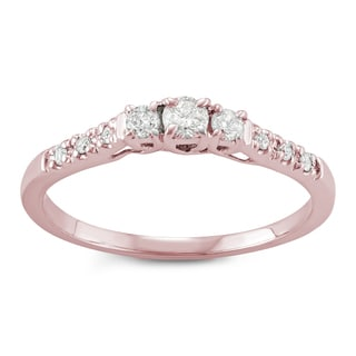 14k Rose Gold 1/4ct TDW White Diamond Three-Stone Engagement Ring (I-J, I2-I3)