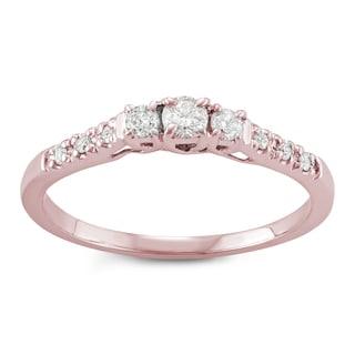 14k Rose Gold 1/4ct TDW White Diamond Three-Stone Engagement Ring (I-J, I2-I3)