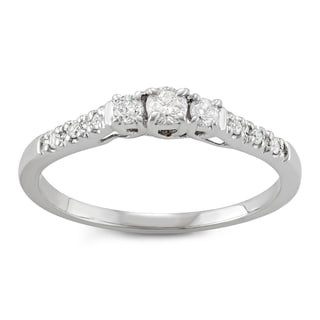 JewelMore 14k White Gold Three-Stone Engagement Ring (I-J, I2-I3)