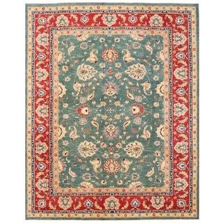 Herat Oriental Afghan Hand-knotted Vegetable Dye Oushak Wool Rug (9'10 x 12'4)
