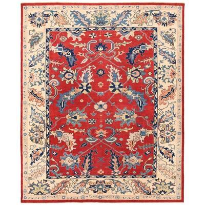 Handmade One-of-a-Kind Vegetable Dye Oushak Wool Rug (Afghanistan) - 7'8 x 9'6