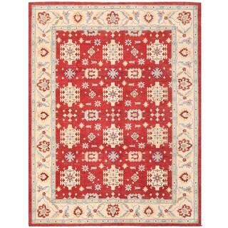 Herat Oriental Afghan Hand-knotted Vegetable Dye Kazak Wool Rug (9' x 11'11)