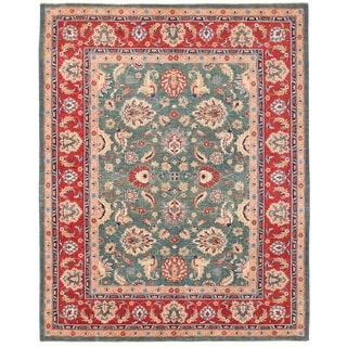 Herat Oriental Afghan Hand-knotted Vegetable Dye Oushak Wool Rug (8'10 x 11'3)