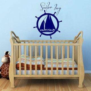 Sailor Boy Sea Wheel Compass Vinyl Sticker Home Art Murals Kids Room Interior Design Sticker Decal s