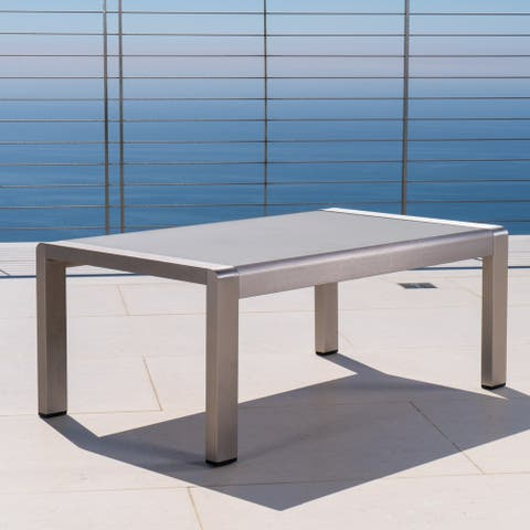 Cape Coral Outdoor Aluminum Coffee Table by Christopher Knight Home