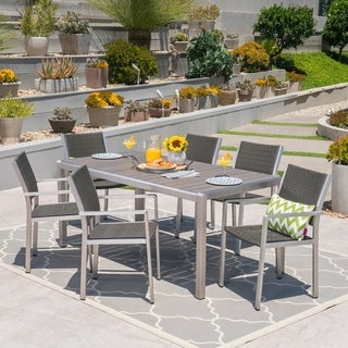 Cape C Outdoor Rectangle Aluminum 7 Piece Dining Set With Gl Top By Christopher Knight