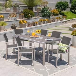 Cape C Outdoor Rectangle Aluminum 7 Piece Dining Set By Christopher Knight Home
