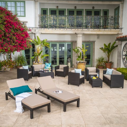 Puerta Outdoor 10-piece Wicker Patio Set with Cushions by Christopher Knight Home