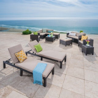 Puerta Outdoor 13 Piece Wicker Patio Set With Cushions By Christopher  Knight Home