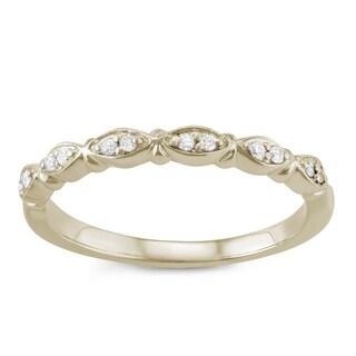 JewelMore 14k Yellow Gold 1/10ct TDW White Diamond Wedding Band (H-I, I2-I3)