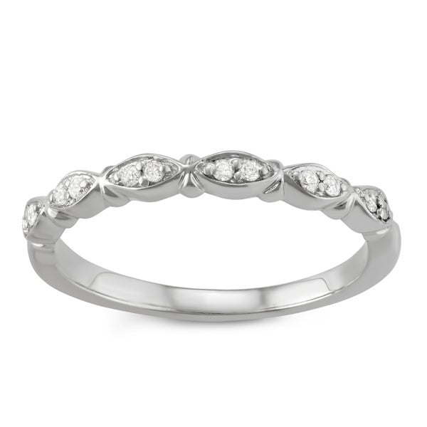 JewelMore 14k White Gold 1/10ct TDW White Diamond Wedding Band (H-I , I2-I3)