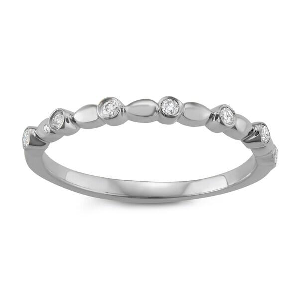 JewelMore 14k White Gold 1/10ct TDW White Diamond Wedding Band (I-J, I2-I3)