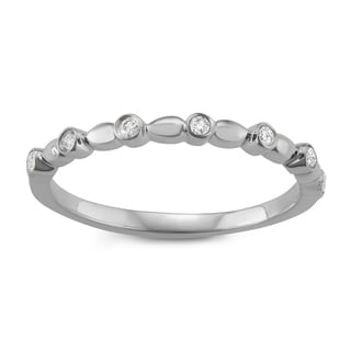 JewelMore 14k White Gold 1/10ct TDW White Diamond Wedding Band (I-J, I2-I3)