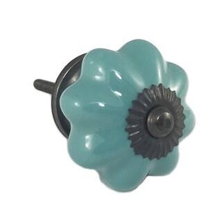 Green Teal Ceramic Decorative Dresser Drawer, Cabinet or Door Pull Knob (Pack of 6)