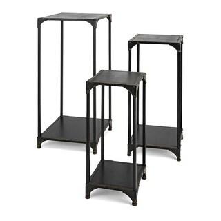 Jasper Wood and Metal Display Pedestals - Set of 3