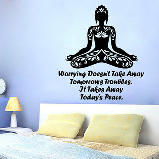 Quote Yoga Worrying Doesn't Take Away Tomorrow's Troubles Vinyl Sticker Interior Kids Room Sticker D