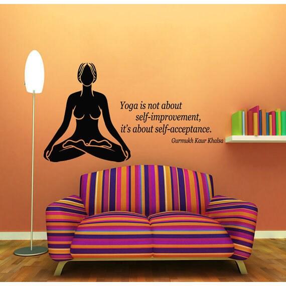 Quote Yoga Is About Self-acceptance Meditation Studio Art Vinyl Sticker Interior Kids Room Sticker Decal size 33x45 Color Black
