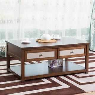 Dark Walnut Wood 42-inch Coffee Table