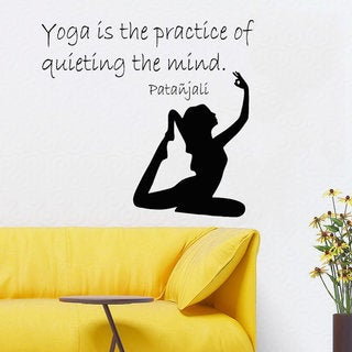 Quote Yoga Is The Practice Of Quieting The Mind Meditation Vinyl Sticker Interior Kids Room Sticker