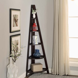 Briarwood Home Decor Espresso Wood Corner Ladder Bookcase