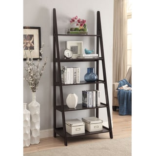 Espresso-colored Wood 28x72 Ladder-style Bookcase