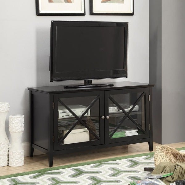 Shop Black Finished Wooden 42 Inch Tv Stand Free Shipping Today