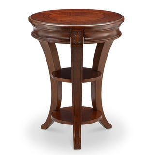 Winslet Traditional Cherry Round Accent Table