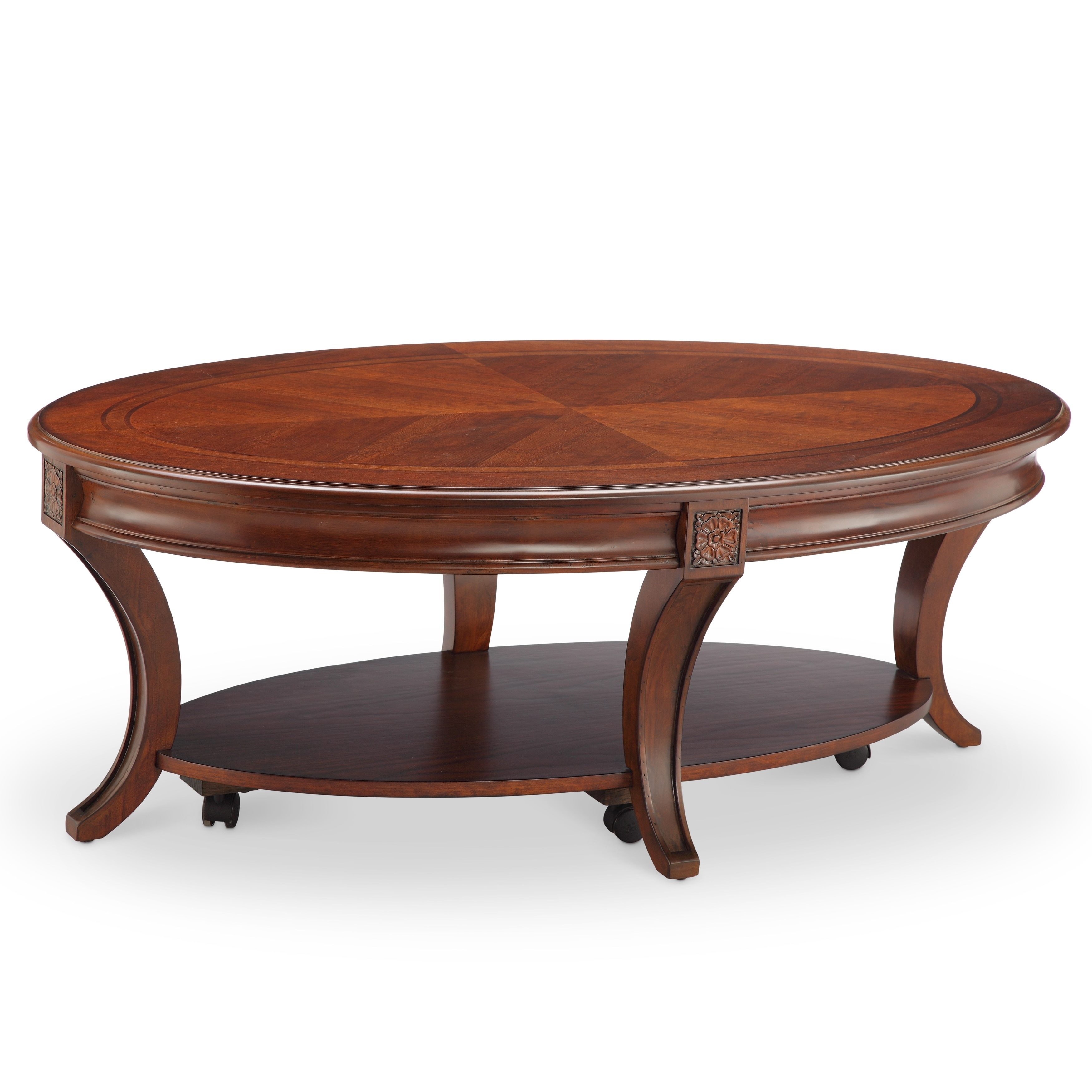 Astonishing Winslet Cherry Finish Wood Oval Coffee Table With Casters Pabps2019 Chair Design Images Pabps2019Com