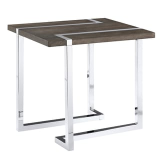 Kieran Contemporary Charcoal and Chrome End Table