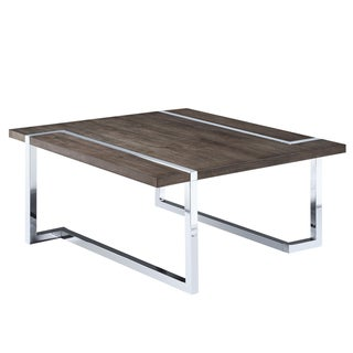 Kieran Contemporary Charcoal and Chrome Square Coffee Table