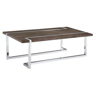 Kieran Contemporary Charcoal and Chrome Rectangular Coffee Table
