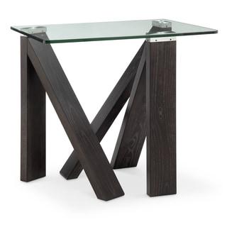 Terra Alta Contemporary Glass Top Espresso End Table