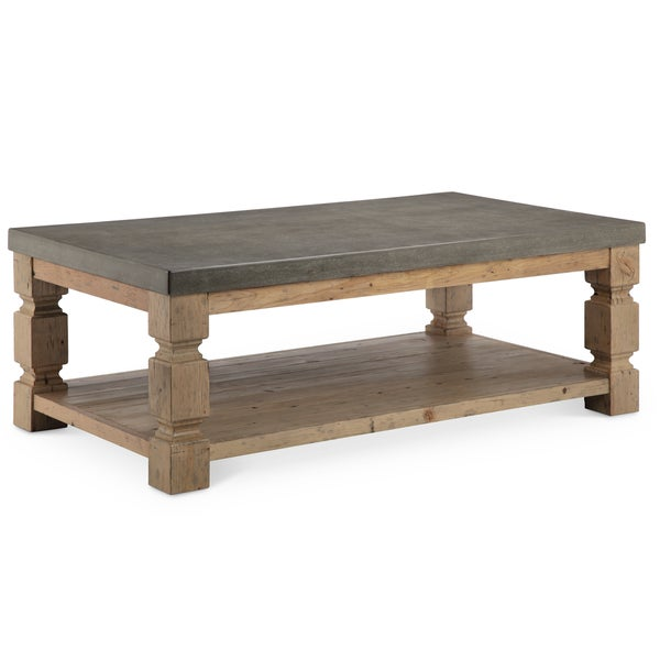 Shop OBrian Rustic Aged Zinc Concrete And Ash Wood Coffee Table - Rectangular concrete coffee table