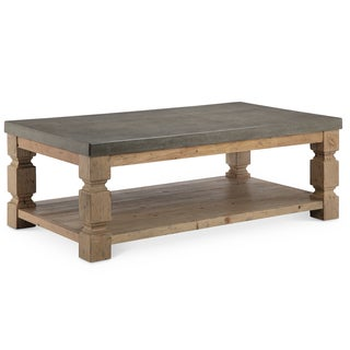 Ou0027Brian Rustic Aged Zinc Concrete And Ash Wood Coffee Table