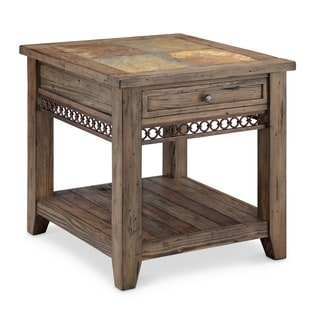 Pierson Transitional Slate Top Weathered Pine End Table