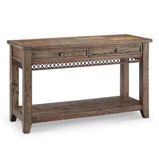 Pierson Transitional Slate Top Weathered Pine Entryway Console Table