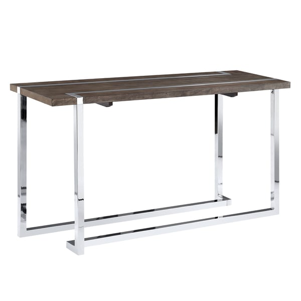 Kieran Contemporary Charcoal And Chrome Console Table
