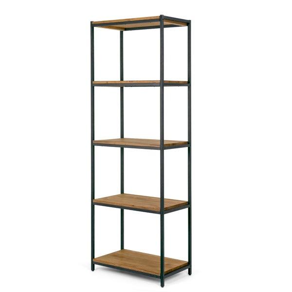 Ailis 75 brown pine wood shelf etagere bookcase media for Media center with bookshelves