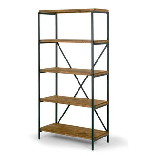"Ailis 67"" Brown Pine Wood Shelf Etagere Bookcase Media Center with Metal Frame"