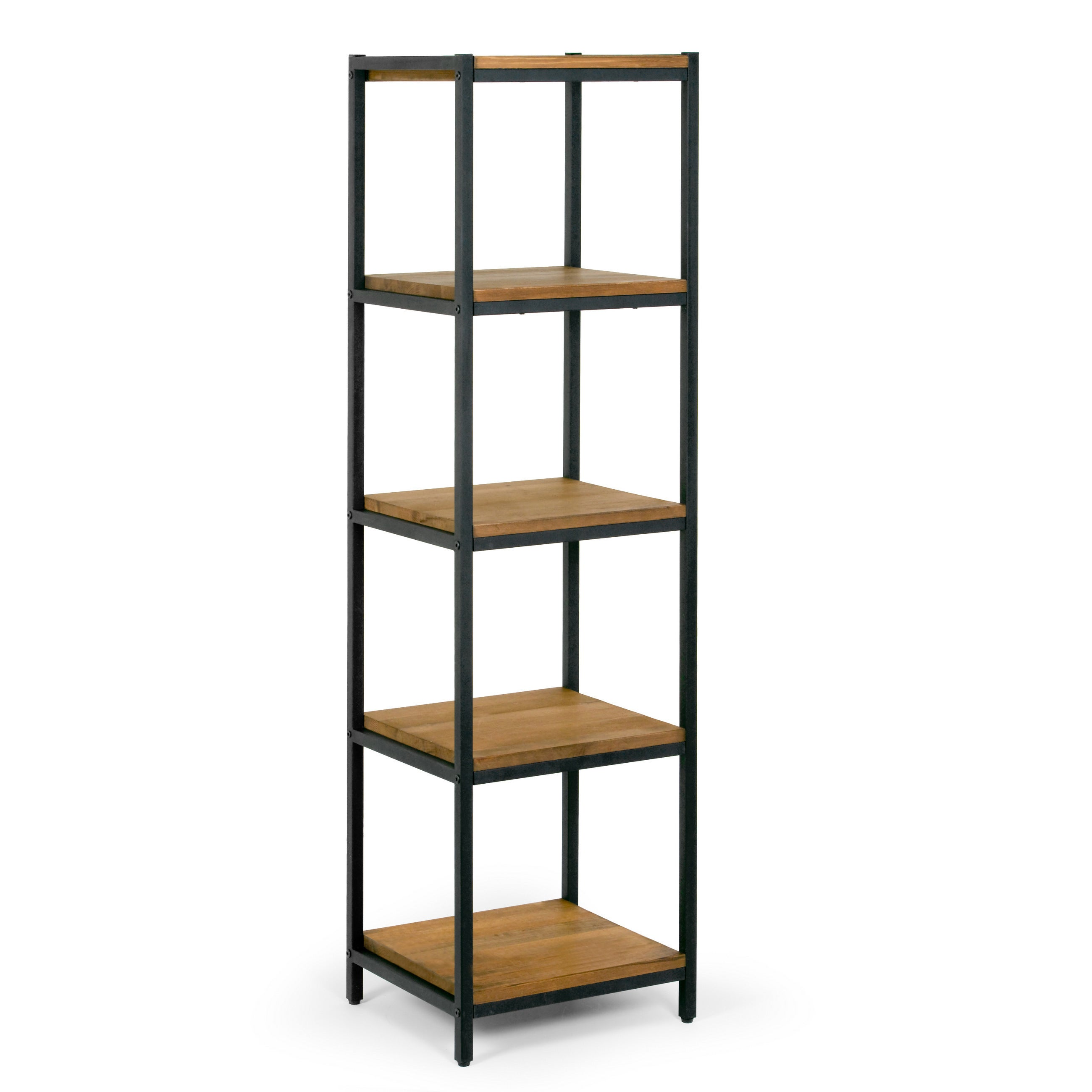 Ailis 57 Brown Pine Wood Shelf Etagere Bookcase Media Center With Metal Frame