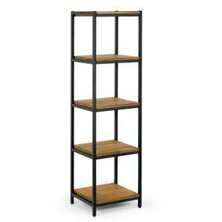 "Ailis 57"" Brown Pine Wood Shelf Etagere Bookcase Media Center with Metal Frame"