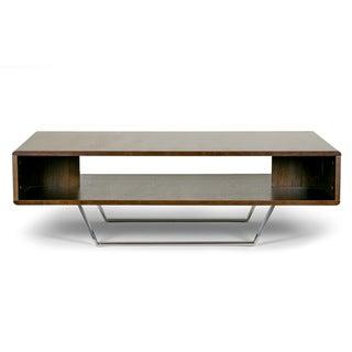 Akira Modern Walnut Finish Coffee Table with Round Corner and Metal Legs