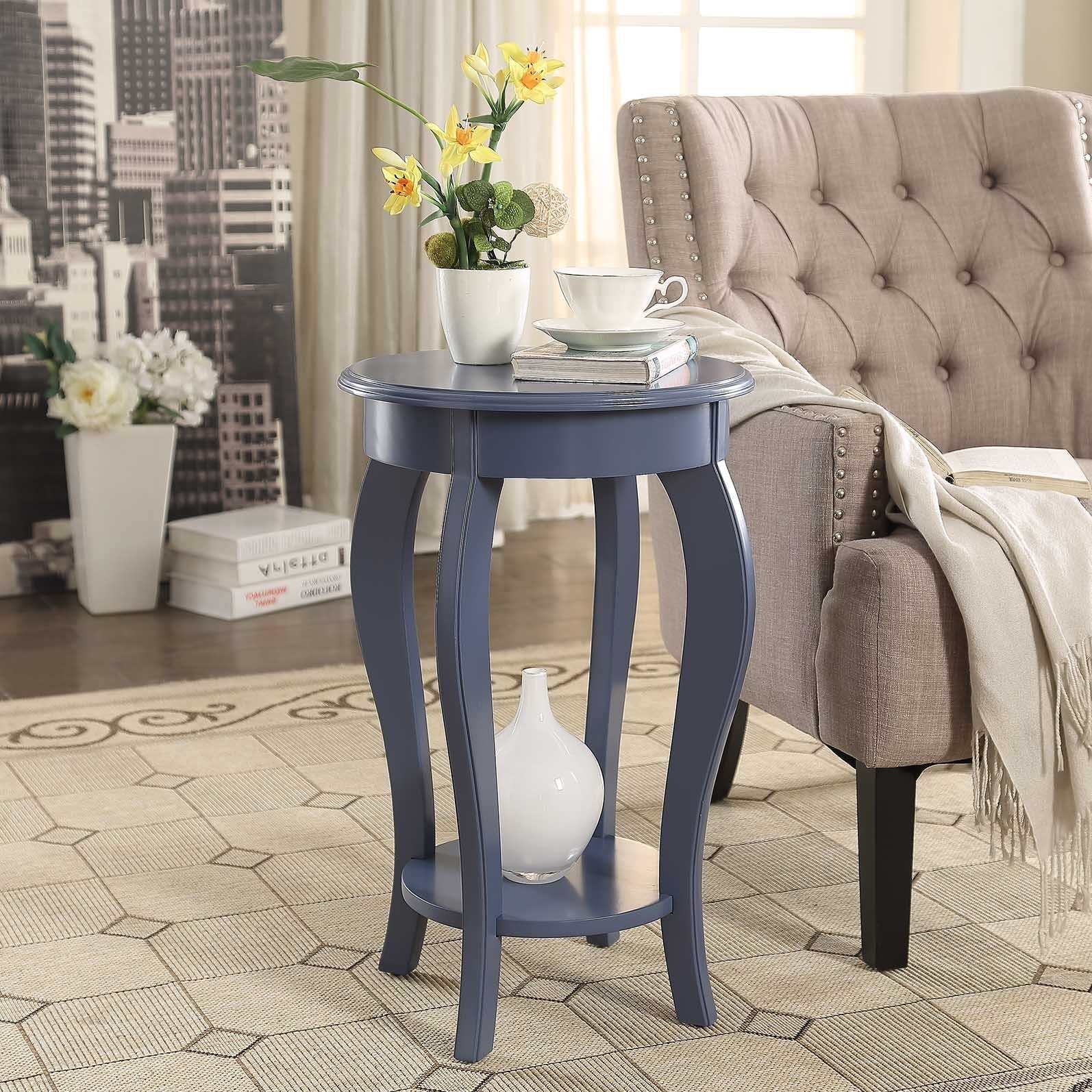 Home Decor Painted Wood Round End Table