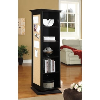 Swivel Storage Cabinet with Cork Board and Mirror