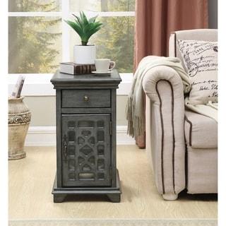 Somette 1-Drawer, 1-Door Textured Grey Chairside Cabinet