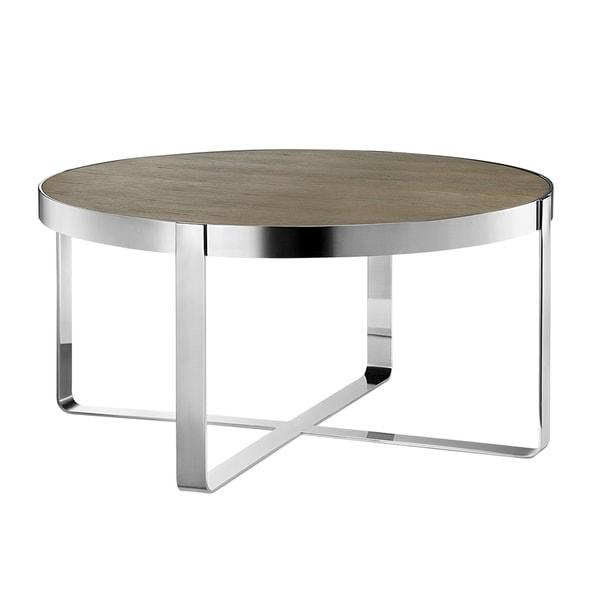 Shop Madison Park Emily Oak/ Chrome Coffee Table