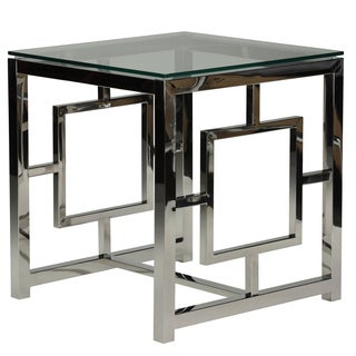 Cortesi Home Kamdyn Square Metal and Glass Contemporary End Table
